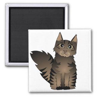 Cute Maine Coon Cat Cartoon - Brown Tabby Magnet