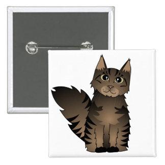 Cute Maine Coon Cat Cartoon - Brown Tabby Pinback Button