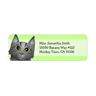 Cute Maine Coon Cat Cartoon - Silver Tabby Label