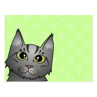 Cute Maine Coon Cat Cartoon - Silver Tabby Postcard