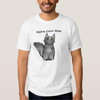 Cute Maine Coon Cat Cartoon - Silver Tabby T-shirt