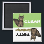 """Cute Maine Coon Cat Clean Dirty Dishwasher Magnet<br><div class=""""desc"""">Cute Maine Coon Cat Clean Dirty Dishwasher Magnet. Change the background color by clicking on the customize it button!</div>"""