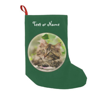Cute Maine Coon Cat Kitten - Personalized Santa Small Christmas Stocking