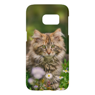 Cute Maine Coon Kitten Cat Flower Meadow Phonecase Samsung Galaxy S7 Case