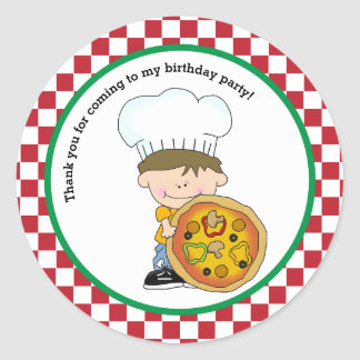 Cute Make Your Own Pizza Party Boy Thank You Favor Classic Round Sticker