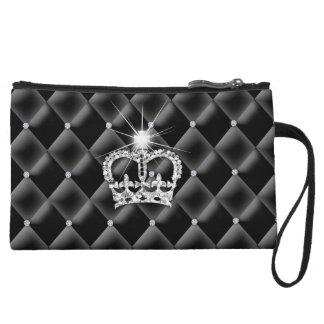 Cute Makeup Bag Purse Diamonds Satin Crown