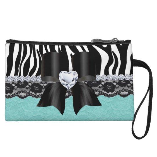 Cute Makeup Bag Purse Zebra Lace Baby Blue Bow