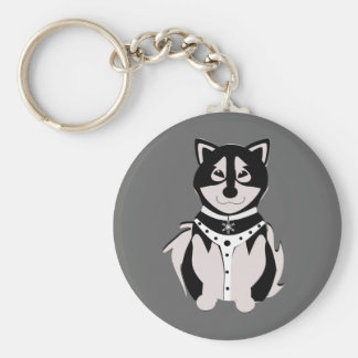 Cute Malamute Sled Dog In Harness Keychain
