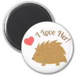 Cute Male Hedgehog in Love, I love Her 2 Inch Round Magnet