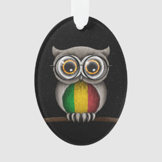 Cute Mali Flag Owl Wearing Glasses Ornament