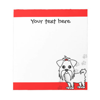 Cute Maltese Cartoon Red Paw Prints Notepad