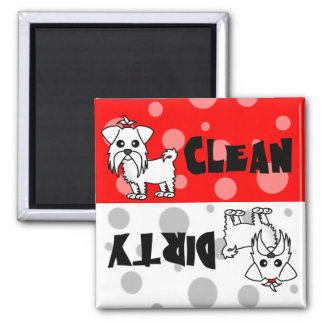 Cute Maltese Clean / Dirty Dishwasher Magnet