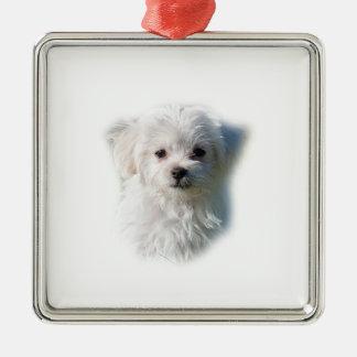 Cute Maltese Dog Metal Ornament