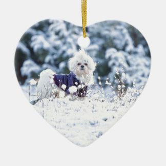 Cute Maltese Dog Christmas Tree Ornament