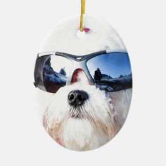 Cute Maltese Dog Ornament
