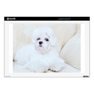 """Cute Maltese Dog Decal For 17"""" Laptop"""