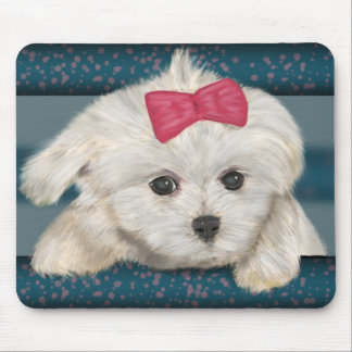 Cute Maltese Dog with Creme Fur and Red Ribbon Mouse Pad