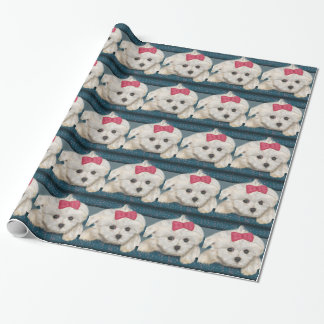 Cute Maltese Dog with Creme Fur and Red Ribbon Gift Wrap Paper