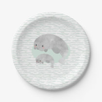 Cute Mama & Baby Manatee with Waves Baby Shower Paper Plate