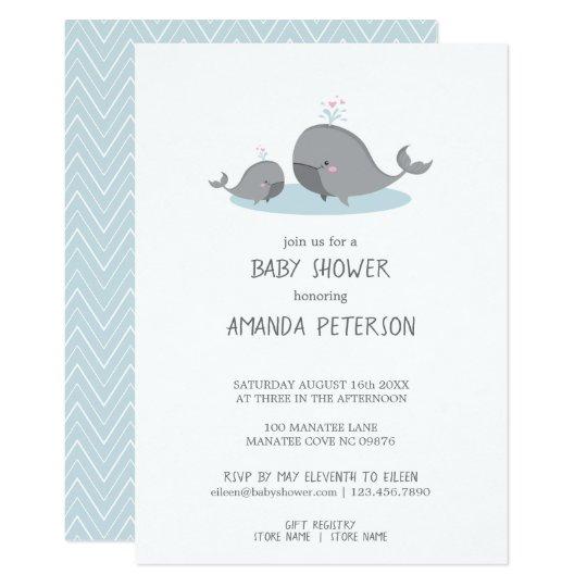 Cute Mama Baby Whales Blue Chevron Shower Invitation