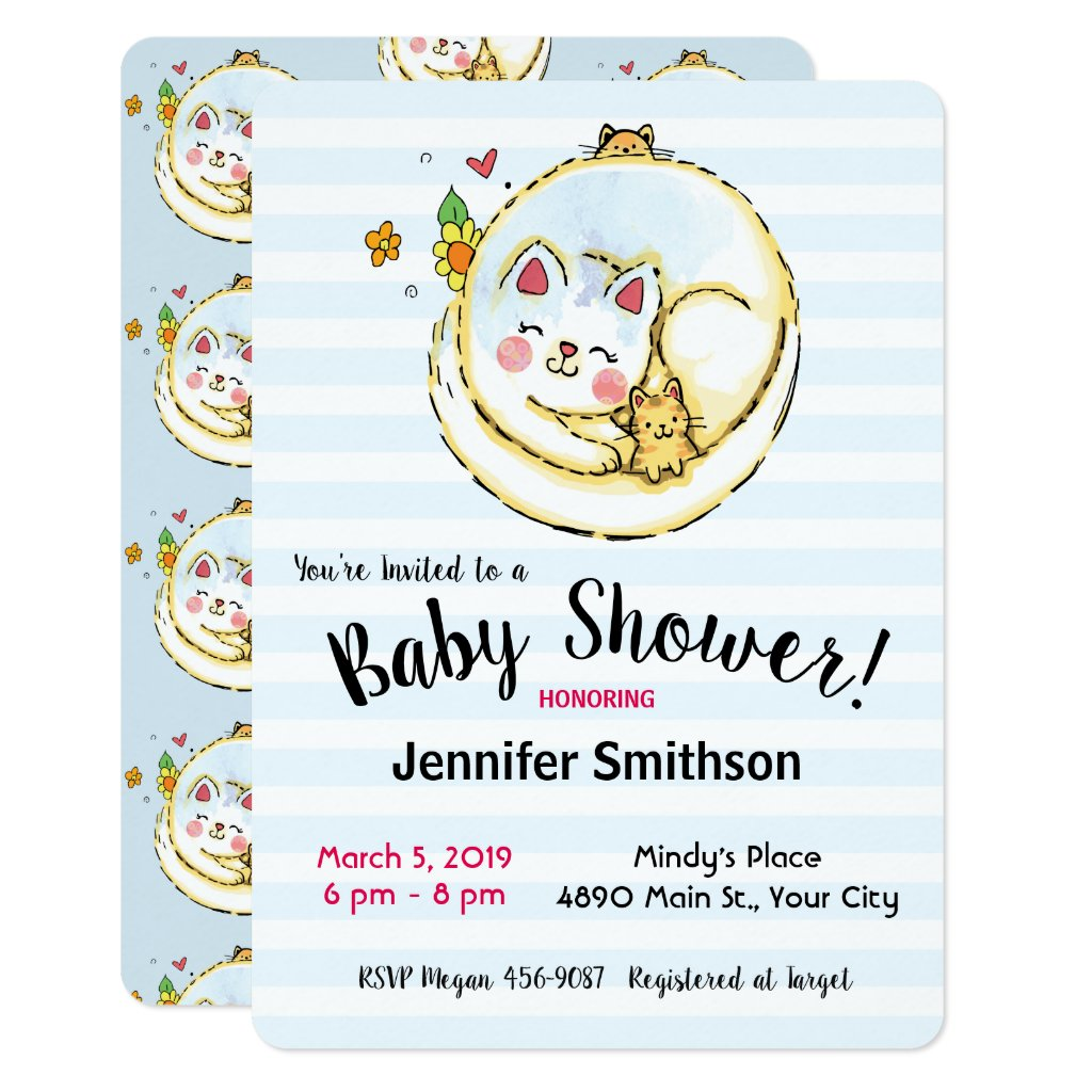 Cute Mama Cat and Kittens Baby Shower Invitations