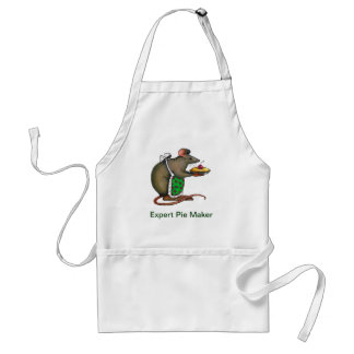 Cute Mama Rat With Pie: Drawing: Color Pencil Adult Apron