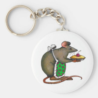 Cute Mama Rat With Pie: Drawing: Color Pencil Basic Round Button Keychain