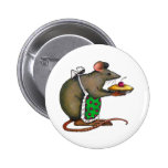 Cute Mama Rat With Pie: Drawing: Color Pencil Pinback Button