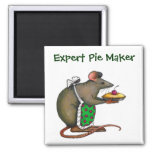 Cute Mama Rat With Pie: Drawing: Color Pencil Magnet