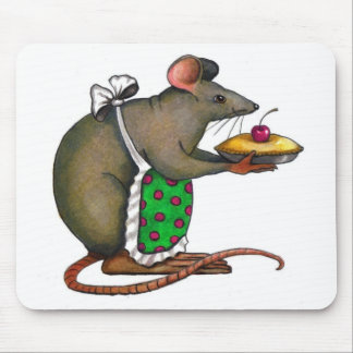 Cute Mama Rat With Pie: Drawing: Color Pencil Mouse Pad