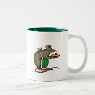 Cute Mama Rat With Pie: Drawing: Color Pencil Two-Tone Coffee Mug