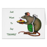 Cute Mama Rat With Pie: Drawing: Thank You Greeting Card