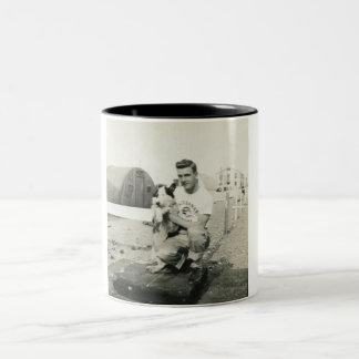 cute man and dog saying hello mug