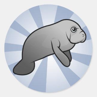 Cute Manatee Classic Round Sticker