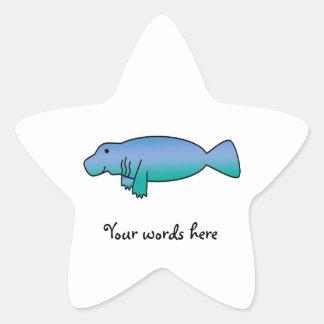 Cute manatee star sticker