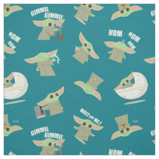 Cute Mandalorian's Child Teal Pattern Fabric