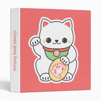 Cute Maneki Neko 3 Ring Binder