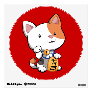 Cute Maneki Neko (Lucky Beckoning Cat) Wall Sticker