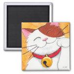 Cute Maneki Neko Lucky Calico Cat 2 Inch Square Magnet