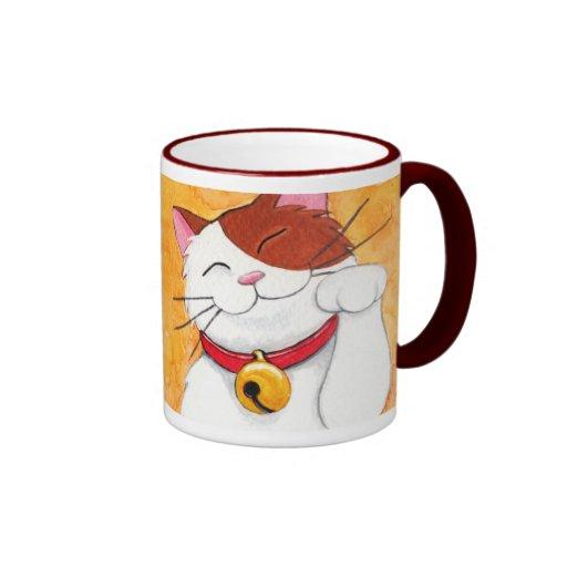 Cute Maneki Neko Lucky Calico Cat Coffee Mugs Zazzle
