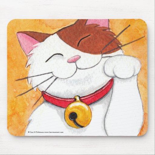Cute Maneki Neko Lucky Calico Cat Mousepads