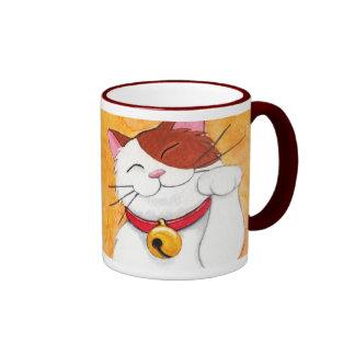 Cute Maneki Neko Lucky Calico Cat Ringer Mug
