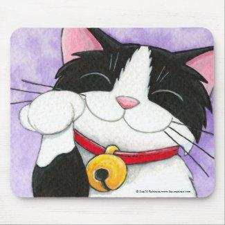 Cute Maneki Neko Lucky Tuxedo Cat Mousepads mousepad