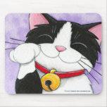 Cute Maneki Neko Lucky Tuxedo Cat Mousepads