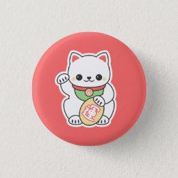 Cute Maneki Neko Pinback Button