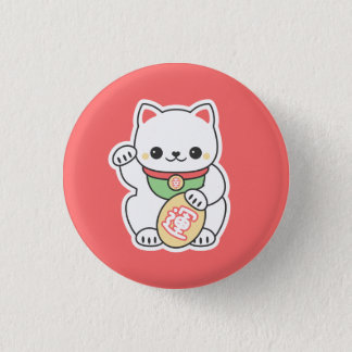 Cute Maneki Neko Pinback Button