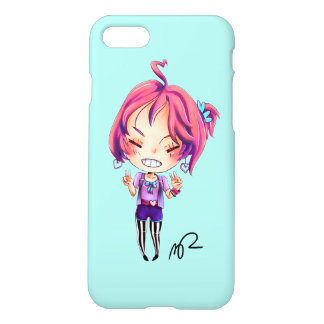Cute Manga Character Art with Peace Signs iPhone 7 Case