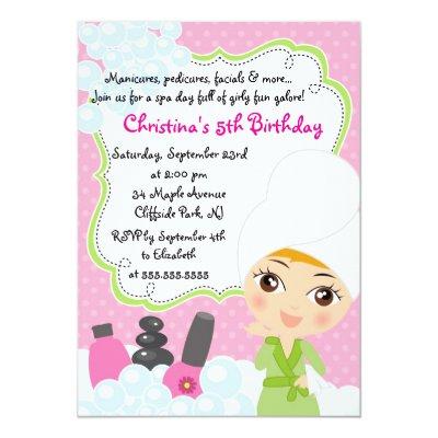 cute manicure spa birthday party invitation | zazzle, Birthday invitations