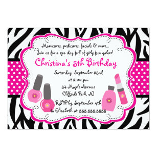 Spa Birthday Invitations Announcements Zazzle