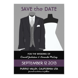 Cute Mannequin Save the Date Purple Wedding 5x7 Paper Invitation Card